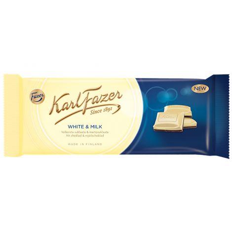 Karl Fazer Valkoista suklaata ja maitosuklaata 100g
