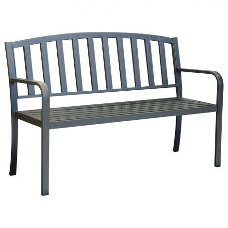 Puutarhapenkki metallinen 128x52x86,5cm, musta