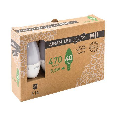 AIRAM LED 5,5W 470 LM. 4-PACK KYNTTILÄ E14, 2700K