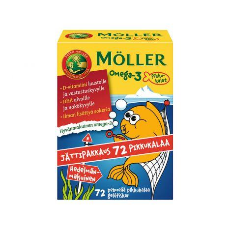 MÖLLER OMEGA-3 PIKKUKALAT JÄTTIPAKKAUS HEDELMÄNMAK. 72 KPL