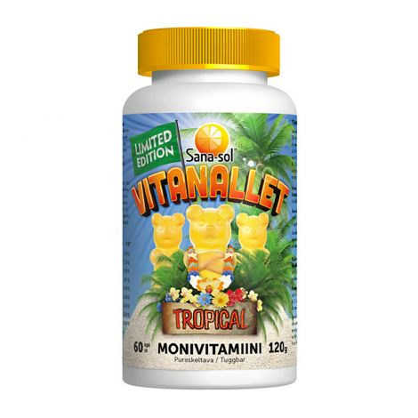 SANA-SOL VITANALLET MONIVITAMIINI TROPICAL LIMITED EDITION 60 KPL