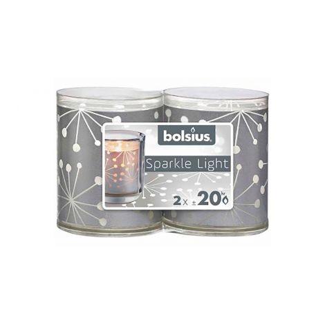 BOLSIUS SPARKLE LIGHT KYNTTILÄ 64/52 2KPL HOPEA
