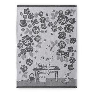 Finlayson keittiöpyyhe 50x70cm, Muumimamman ruusutarha musta/valk