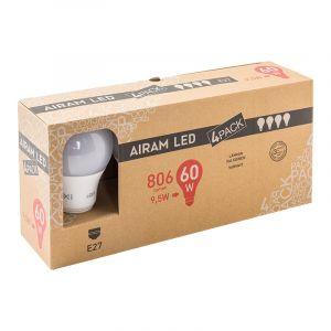 AIRAM LED 9,5W 806 LM. 4-PACK VAKIOL  E27, 2700K